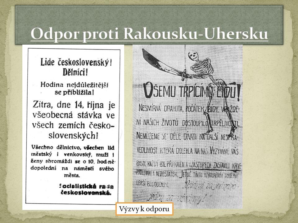  1918 – porážka Rakouska – Uherska a Německa  Po skončení války se Rakousko – Uhersko začíná rozpadat  Důležitý je souhlas spojenců  Masaryk se dohodl v USA se zástupci Slováků, žijícími v Americe na vytvoření společného státu Čechů a Slováků 28.10.1918 – vzniká Československá republika