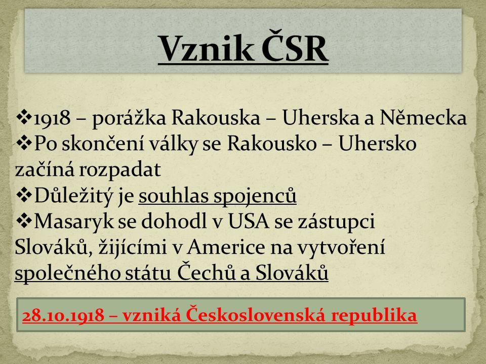  28.10.1918 na Václavském náměstí velká manifestace  Na ní vyhlásili čeští politici SAMOSTATNOST