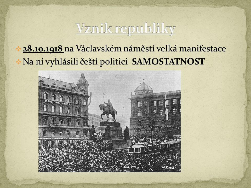 Prezidentem zvolen T.G.Masaryk Ustanovena vláda v čele s Karlem Kramářem Návrat Masaryka do Prahy Karel Kramář