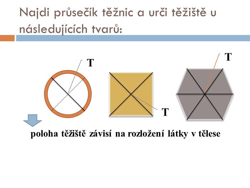 Najdi průsečík těžnic a urči těžiště u následujících tvarů: poloha těžiště závisí na rozložení látky v tělese T T T