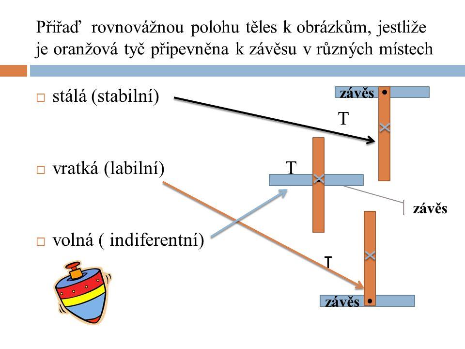 Přiřaď rovnovážnou polohu těles k obrázkům, jestliže je oranžová tyč připevněna k závěsu v různých místech  stálá (stabilní) T  vratká (labilní) T  volná ( indiferentní) T závěs