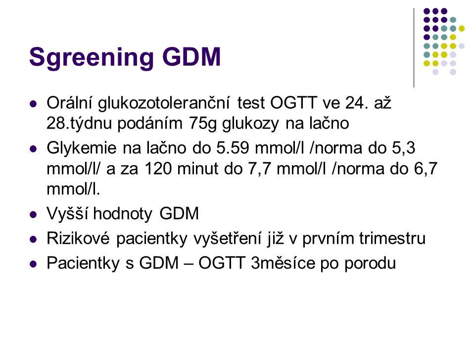 Sgreening GDM Orální glukozotoleranční test OGTT ve 24.