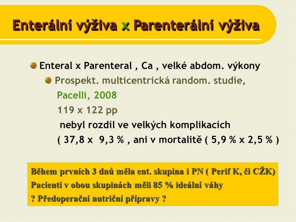 Enteral x Parenteral, Ca, velké abdom. výkony Prospekt.
