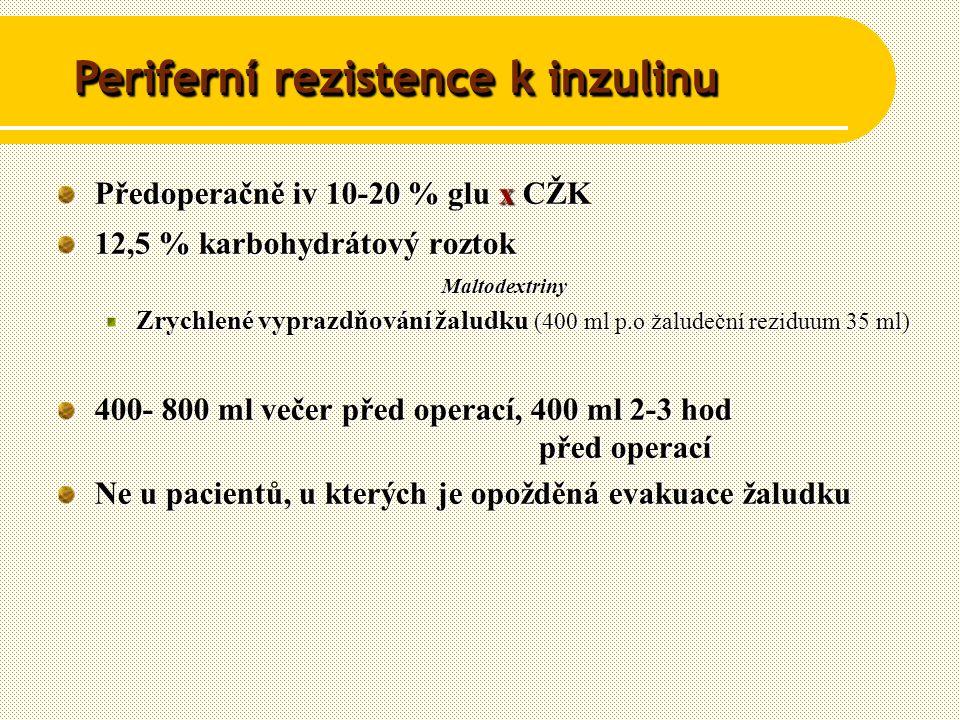 Předoperačně iv 10-20 % glu x CŽK 12,5 % karbohydrátový roztok Maltodextriny Zrychlené vyprazdňování žaludku (400 ml p.o žaludeční reziduum 35 ml) 400- 800 ml večer před operací, 400 ml 2-3 hod před operací Ne u pacientů, u kterých je opožděná evakuace žaludku Periferní rezistence k inzulinu