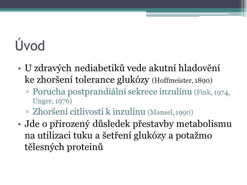 Úvod U zdravých nediabetiků vede akutní hladovění ke zhoršení tolerance glukózy (Hoffmeister, 1890) ▫Porucha postprandiální sekrece inzulínu (Fink, 1974, Unger, 1976) ▫Zhoršení citlivosti k inzulínu (Mansel, 1990) Jde o přirozený důsledek přestavby metabolismu na utilizaci tuku a šetření glukózy a potažmo tělesných proteinů