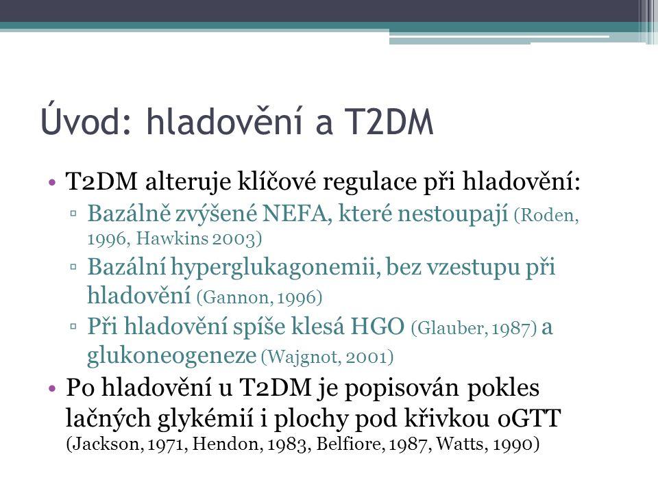 Úvod: hladovění a T2DM T2DM alteruje klíčové regulace při hladovění: ▫Bazálně zvýšené NEFA, které nestoupají (Roden, 1996, Hawkins 2003) ▫Bazální hyperglukagonemii, bez vzestupu při hladovění (Gannon, 1996) ▫Při hladovění spíše klesá HGO (Glauber, 1987) a glukoneogeneze (Wajgnot, 2001) Po hladovění u T2DM je popisován pokles lačných glykémií i plochy pod křivkou oGTT (Jackson, 1971, Hendon, 1983, Belfiore, 1987, Watts, 1990)