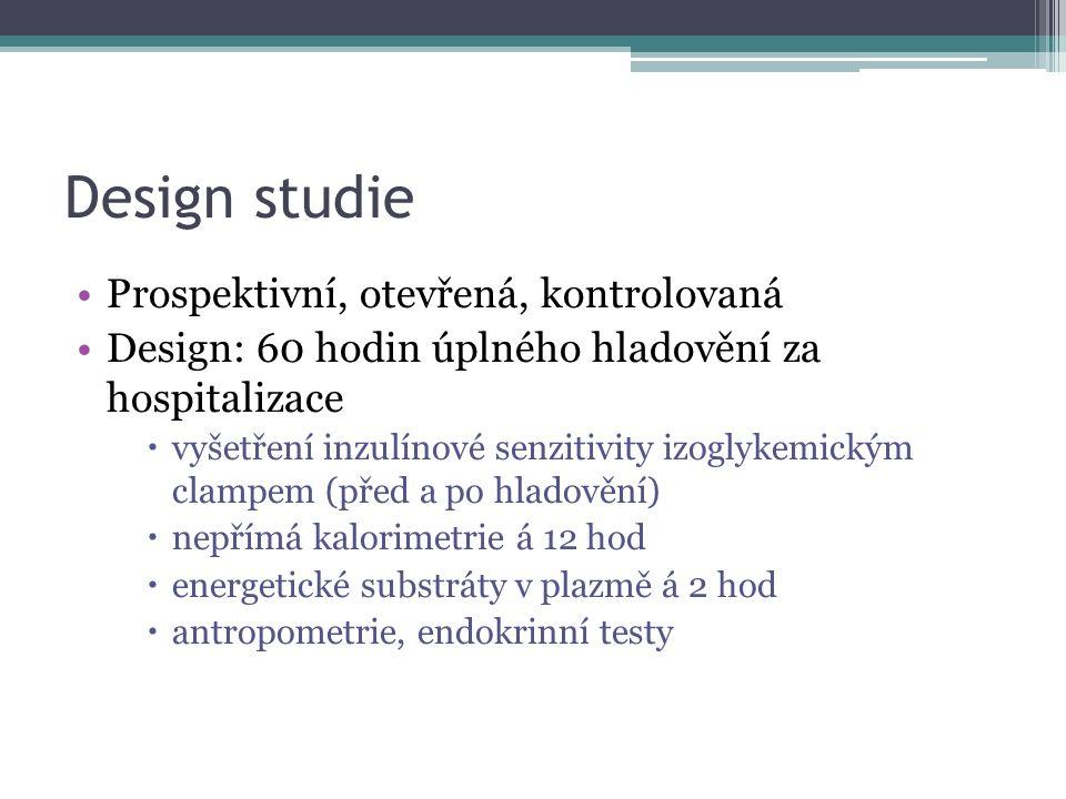Design studie Prospektivní, otevřená, kontrolovaná Design: 60 hodin úplného hladovění za hospitalizace  vyšetření inzulínové senzitivity izoglykemick