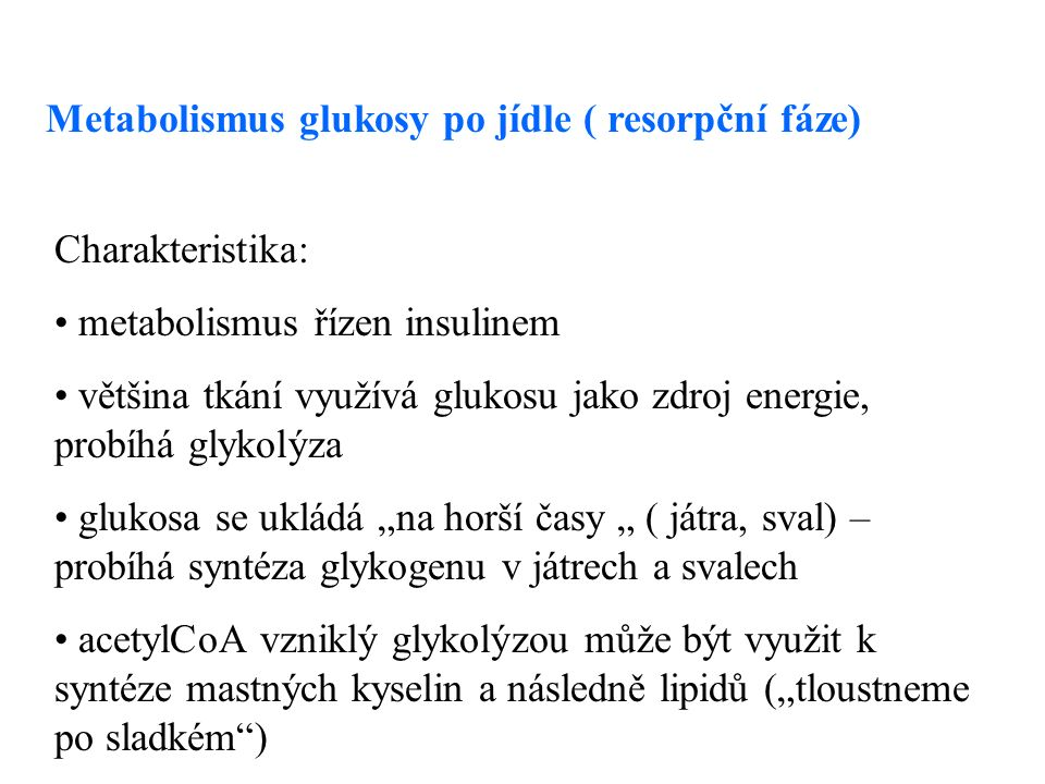 """Metabolismus glukosy po jídle ( resorpční fáze) Charakteristika: metabolismus řízen insulinem většina tkání využívá glukosu jako zdroj energie, probíhá glykolýza glukosa se ukládá """"na horší časy """" ( játra, sval) – probíhá syntéza glykogenu v játrech a svalech acetylCoA vzniklý glykolýzou může být využit k syntéze mastných kyselin a následně lipidů (""""tloustneme po sladkém )"""
