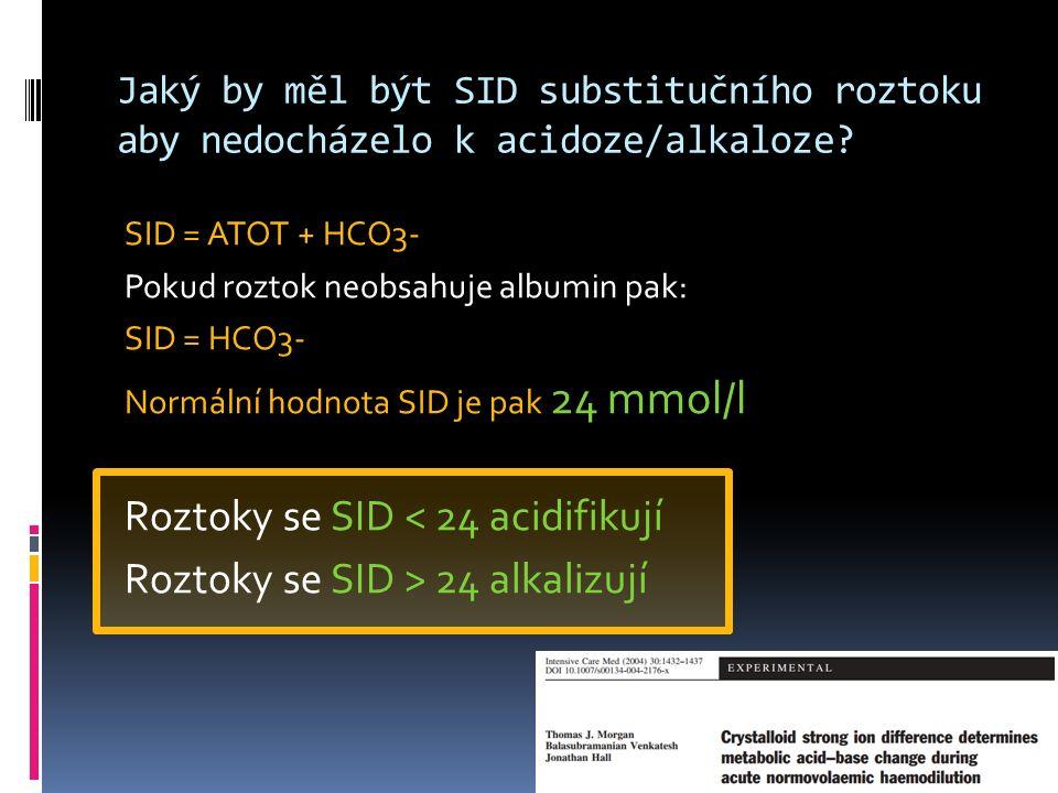 Jaký by měl být SID substitučního roztoku aby nedocházelo k acidoze/alkaloze.