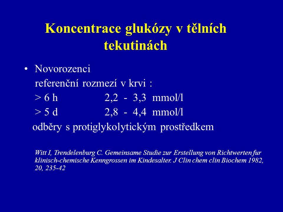 Koncentrace glukózy v tělních tekutinách Novorozenci referenční rozmezí v krvi : > 6 h 2,2 - 3,3 mmol/l > 5 d 2,8 - 4,4 mmol/l odběry s protiglykolyti
