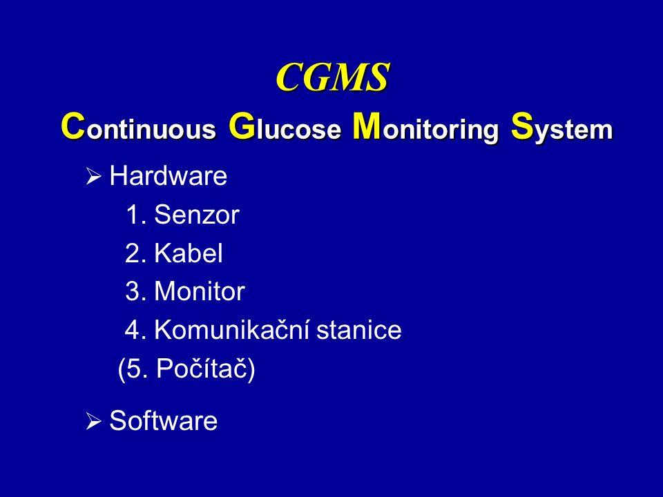  Hardware 1. Senzor 2. Kabel 3. Monitor 4. Komunikační stanice (5. Počítač)  Software CGMS C ontinuous G lucose M onitoring S ystem