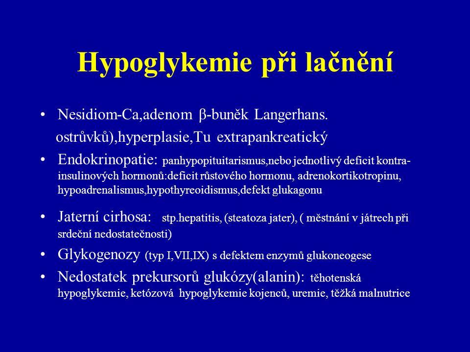 Hypoglykemie při lačnění Nesidiom-Ca,adenom β-buněk Langerhans. ostrůvků),hyperplasie,Tu extrapankreatický Endokrinopatie: panhypopituitarismus,nebo j