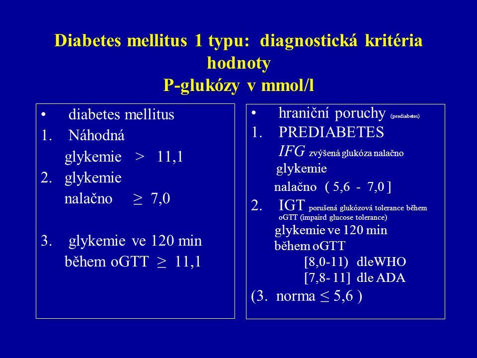 Diabetes mellitus 1 typu: diagnostická kritéria hodnoty P-glukózy v mmol/l diabetes mellitus 1.Náhodná glykemie > 11,1 2. glykemie nalačno ≥ 7,0 3.gly