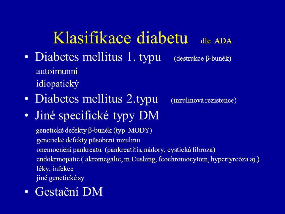 Klasifikace diabetu dle ADA Diabetes mellitus 1. typu (destrukce β-buněk) autoimunní idiopatický Diabetes mellitus 2.typu (inzulinová rezistence) Jiné