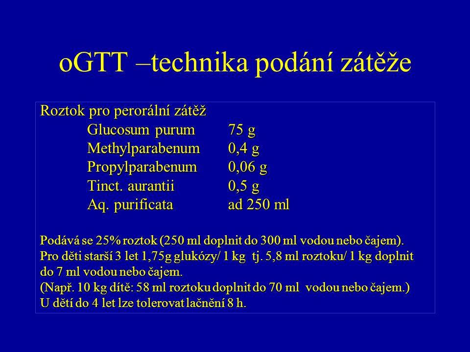 oGTT –technika podání zátěže Roztok pro perorální zátěž Glucosum purum75 g Methylparabenum0,4 g Propylparabenum0,06 g Tinct. aurantii0,5 g Aq. purific