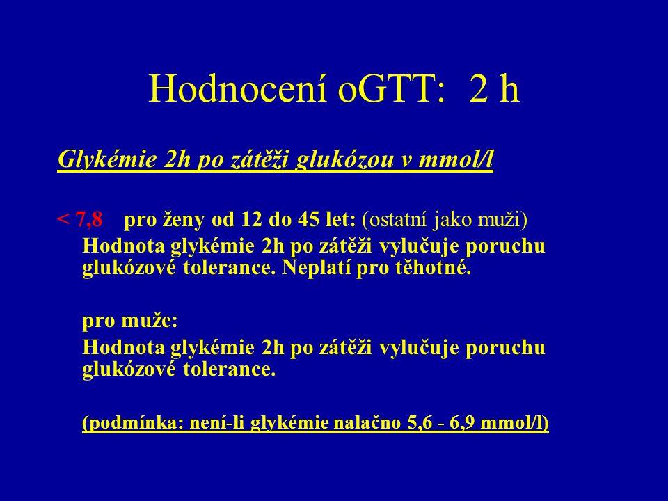 Hodnocení oGTT: 2 h Glykémie 2h po zátěži glukózou v mmol/l < 7,8 pro ženy od 12 do 45 let: (ostatní jako muži) Hodnota glykémie 2h po zátěži vylučuje