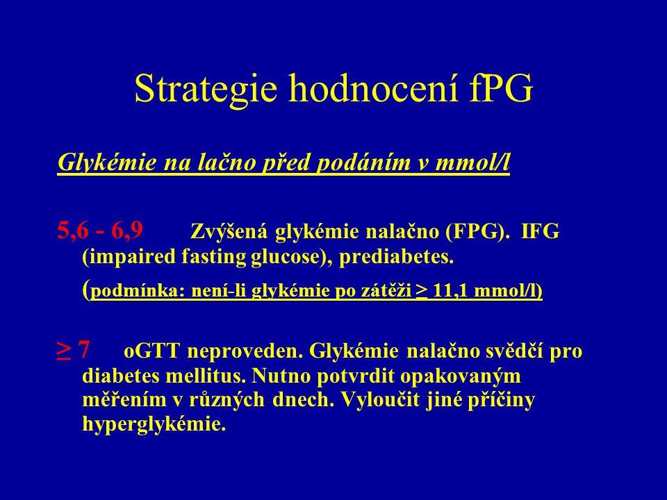 Strategie hodnocení fPG Glykémie na lačno před podáním v mmol/l 5,6 - 6,9 Zvýšená glykémie nalačno (FPG). IFG (impaired fasting glucose), prediabetes.