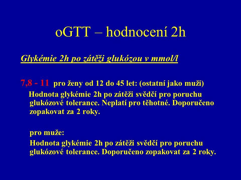 oGTT – hodnocení 2h Glykémie 2h po zátěži glukózou v mmol/l 7,8 - 11 pro ženy od 12 do 45 let: (ostatní jako muži) Hodnota glykémie 2h po zátěži svědč