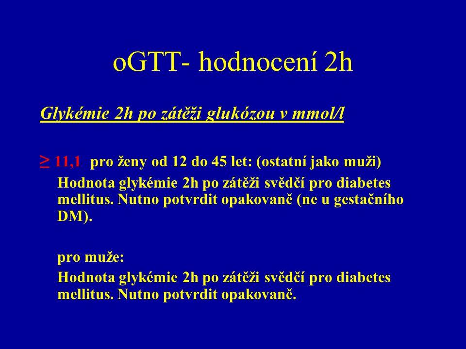 oGTT- hodnocení 2h Glykémie 2h po zátěži glukózou v mmol/l ≥ 11,1 pro ženy od 12 do 45 let: (ostatní jako muži) Hodnota glykémie 2h po zátěži svědčí p