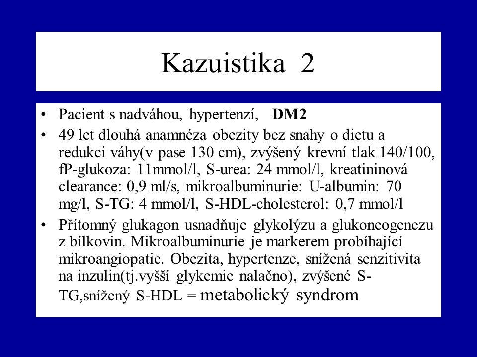 Kazuistika 2 Pacient s nadváhou, hypertenzí, DM2 49 let dlouhá anamnéza obezity bez snahy o dietu a redukci váhy(v pase 130 cm), zvýšený krevní tlak 1