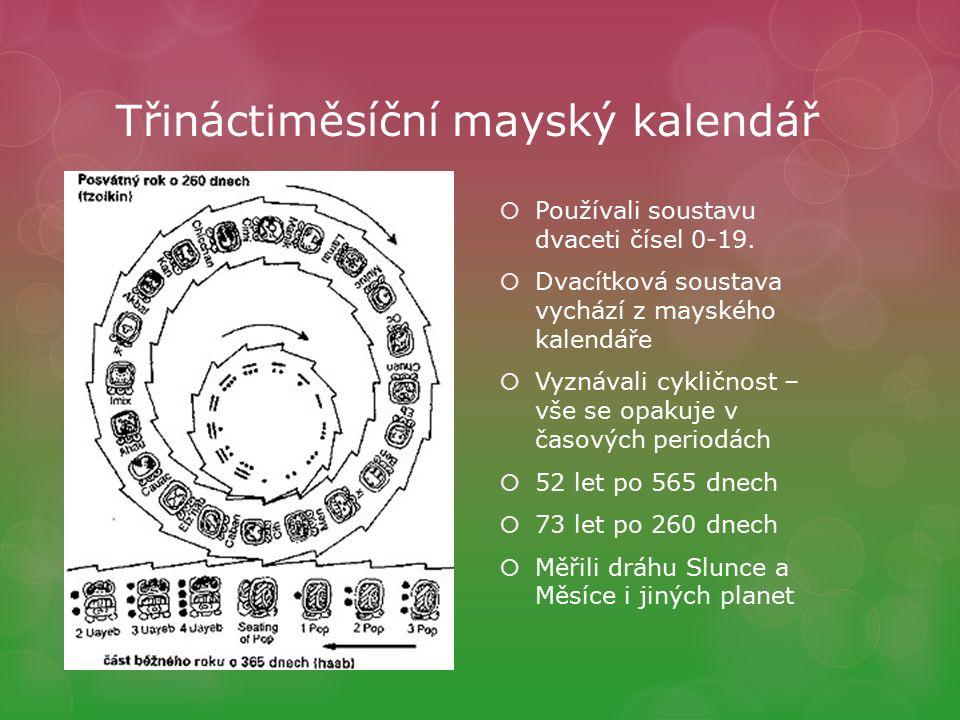 Třináctiměsíční mayský kalendář  Používali soustavu dvaceti čísel 0-19.