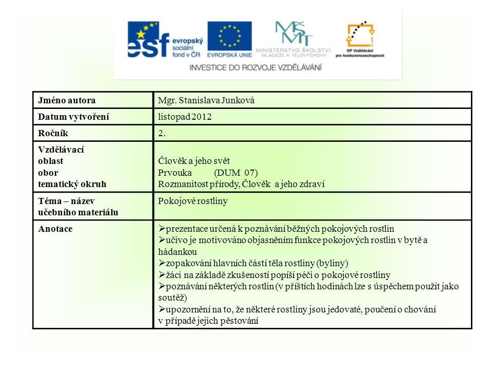 Jméno autoraMgr. Stanislava Junková Datum vytvořenílistopad 2012 Ročník2.