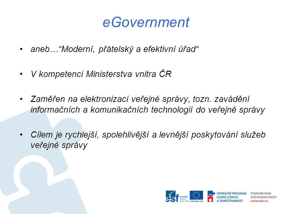 eGovernment aneb… Moderní, přátelský a efektivní úřad V kompetenci Ministerstva vnitra ČR Zaměřen na elektronizaci veřejné správy, tozn.