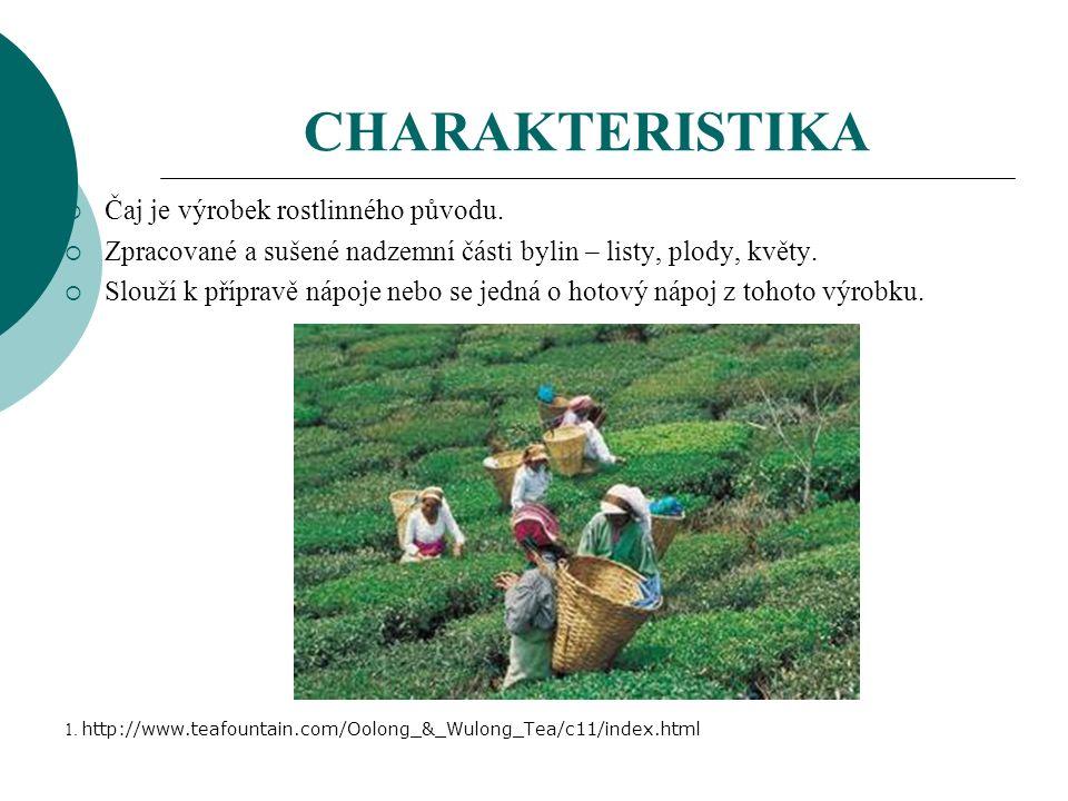CHARAKTERISTIKA  Čaj je výrobek rostlinného původu.
