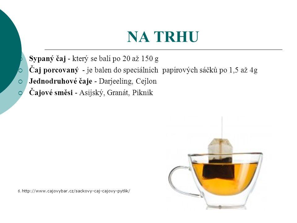 NA TRHU  Sypaný čaj - který se balí po 20 až 150 g  Čaj porcovaný - je balen do speciálních papírových sáčků po 1,5 až 4g  Jednodruhové čaje - Darjeeling, Cejlon  Čajové směsi - Asijský, Granát, Piknik 6.
