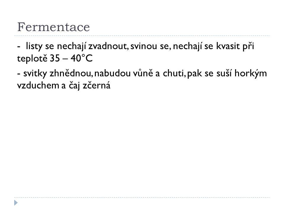 Druhy čaje  a) podle země z které čaj pochází (ruský, čínský, japonský, indický, cejlonský)  b) podle úpravy rozeznáváme: čaj černý (prodělal úplnou fermentaci), zelený (nefermentovaný – čerstvé listy se spaří párou, svinují a suší), žlutozelený (nedokonale fermentovaný), bílý (stříbrný) květový – čaj s příměsí kvítků čajovníku  c) bylinné čaje – sušené části rostlin, používají se kořeny (kozlík lékařský), listy a nať, (máta, meduňka), kůra (skořice), květy (heřmánek), semena (fenykl), plody (šípek, borůvky)  d) ovocné čaje – směsi sušených plodů, koření a bylin