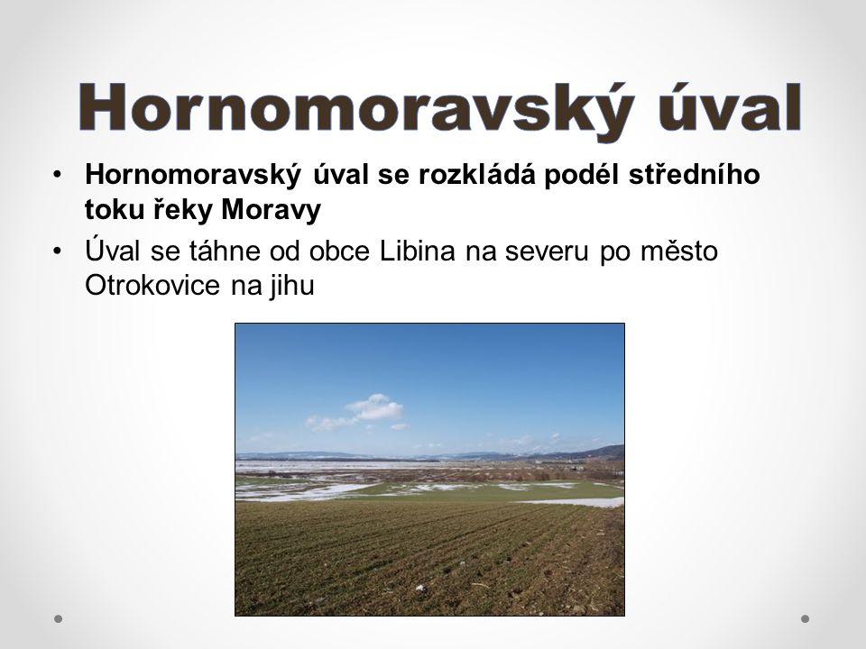 Hornomoravský úval se rozkládá podél středního toku řeky Moravy Úval se táhne od obce Libina na severu po město Otrokovice na jihu