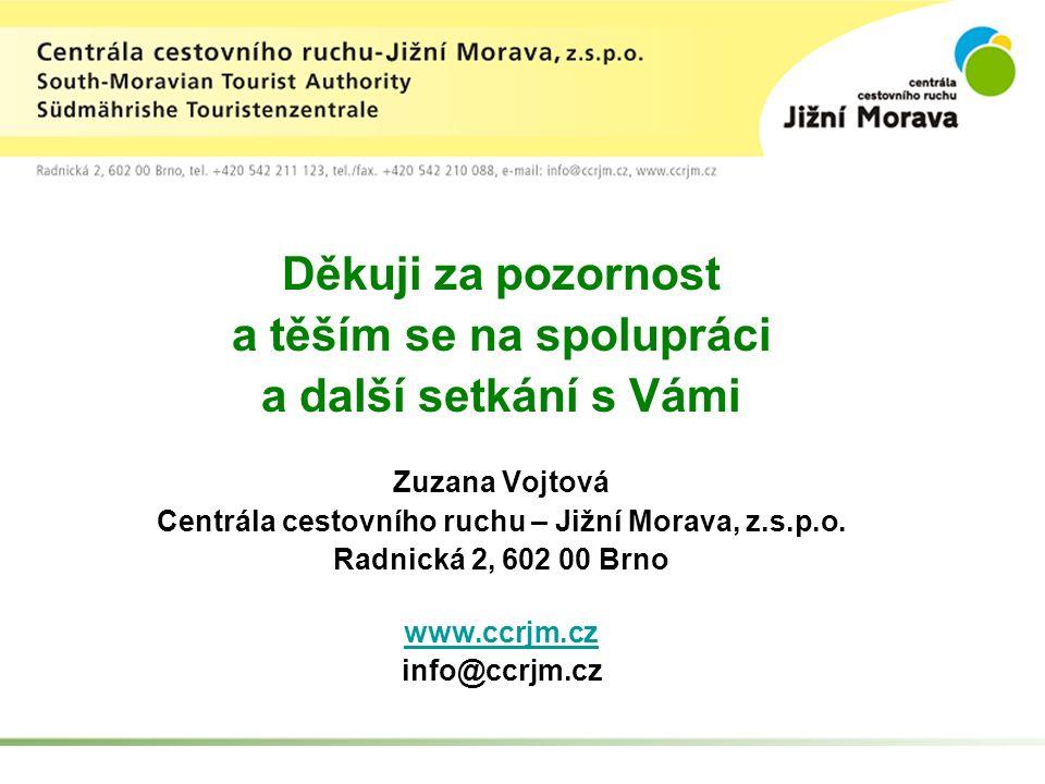 Děkuji za pozornost a těším se na spolupráci a další setkání s Vámi Zuzana Vojtová Centrála cestovního ruchu – Jižní Morava, z.s.p.o.