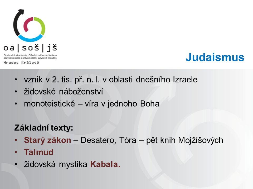 Judaismus vznik v 2. tis. př. n. l.