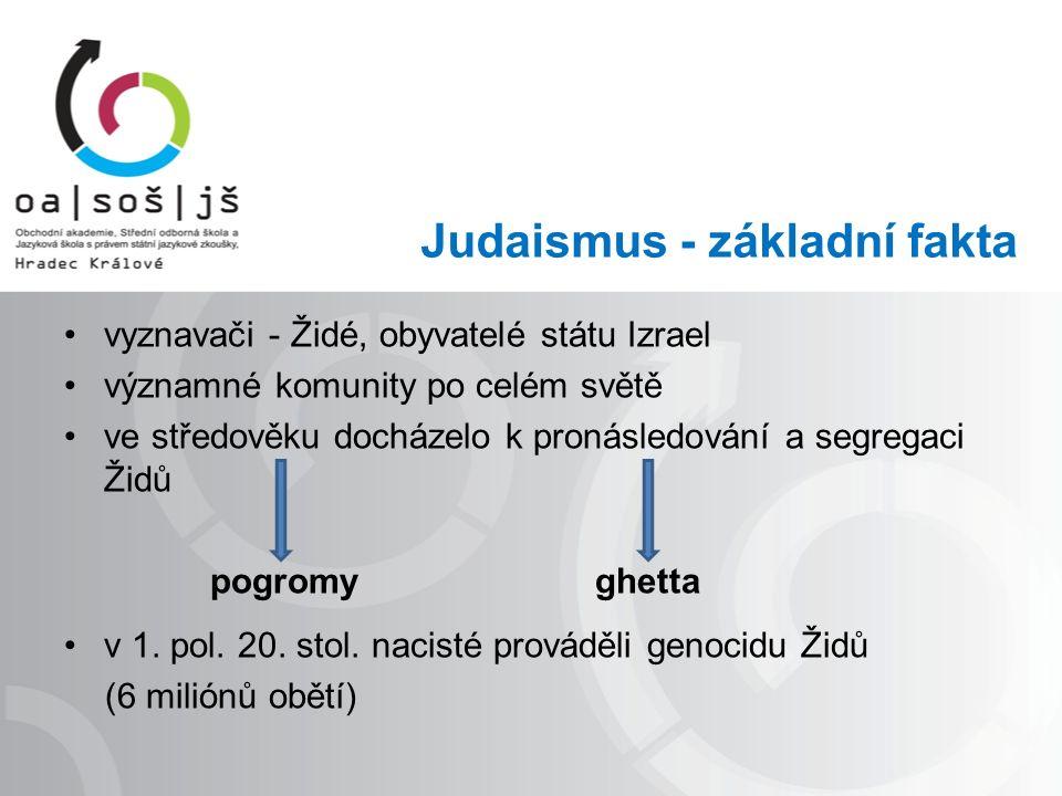 Judaismus - základní fakta vyznavači - Židé, obyvatelé státu Izrael významné komunity po celém světě ve středověku docházelo k pronásledování a segregaci Židů pogromy ghetta v 1.