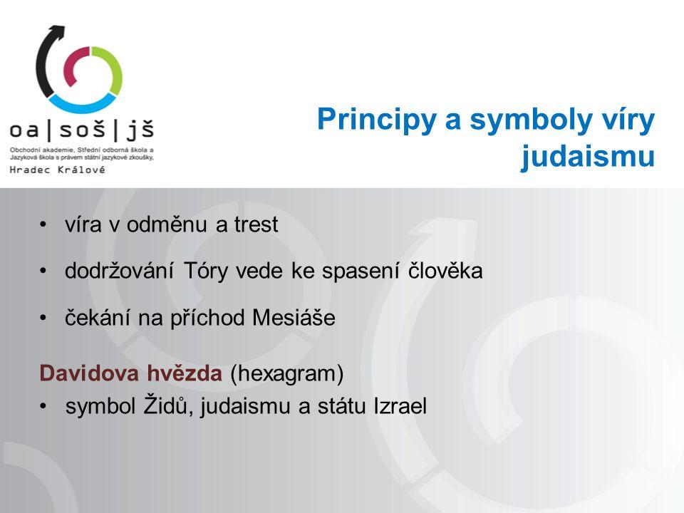 Principy a symboly víry judaismu víra v odměnu a trest dodržování Tóry vede ke spasení člověka čekání na příchod Mesiáše Davidova hvězda (hexagram) symbol Židů, judaismu a státu Izrael