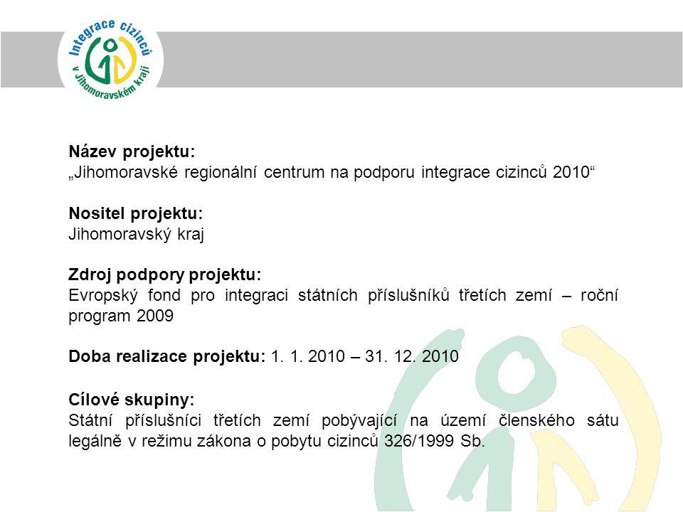 """Název projektu: """"Jihomoravské regionální centrum na podporu integrace cizinců 2010 Nositel projektu: Jihomoravský kraj Zdroj podpory projektu: Evropský fond pro integraci státních příslušníků třetích zemí – roční program 2009 Doba realizace projektu: 1."""