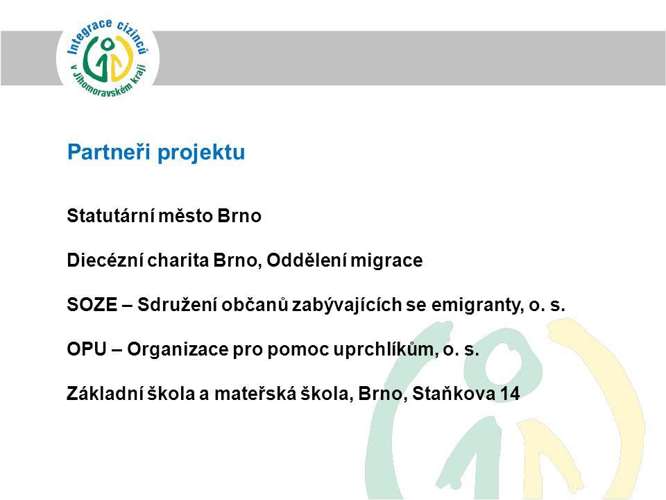 Partneři projektu Statutární město Brno Diecézní charita Brno, Oddělení migrace SOZE – Sdružení občanů zabývajících se emigranty, o. s. OPU – Organiza