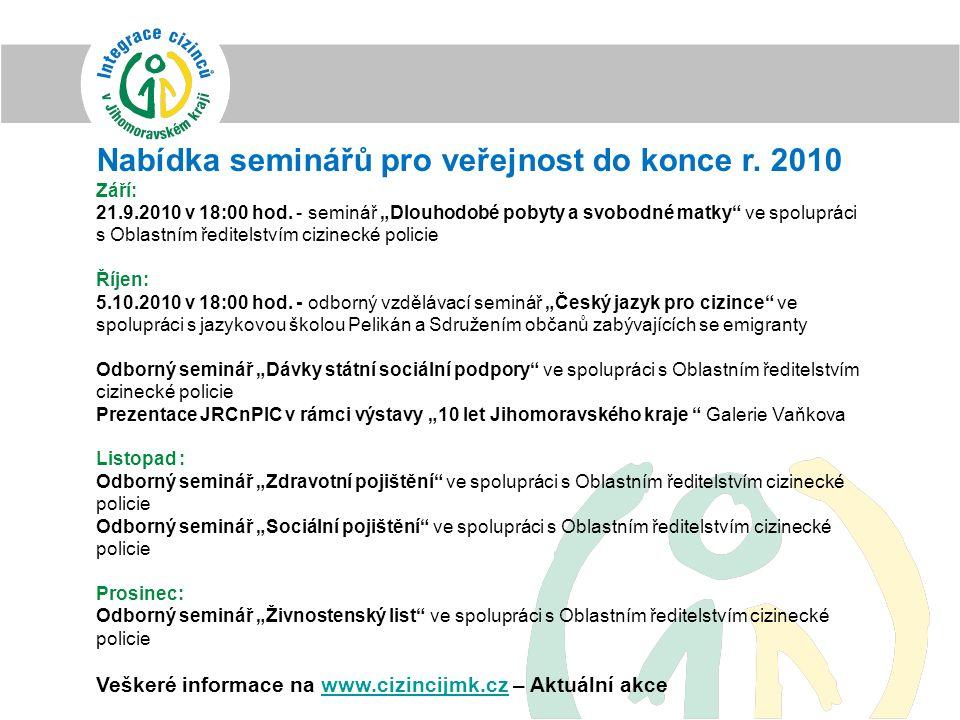 Nabídka seminářů pro veřejnost do konce r. 2010 Září: 21.9.2010 v 18:00 hod.