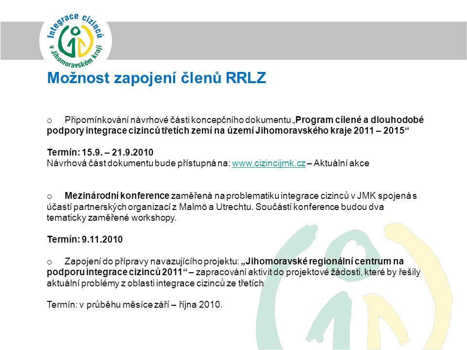 """Možnost zapojení členů RRLZ o Připomínkování návrhové části koncepčního dokumentu """"Program cílené a dlouhodobé podpory integrace cizinců třetích zemí"""
