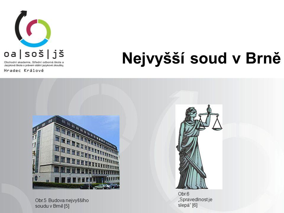 """Nejvyšší soud v Brně Obr.5 Budova nejvyššího soudu v Brně [5] Obr.6 """"Spravedlnost je slepá [6]"""