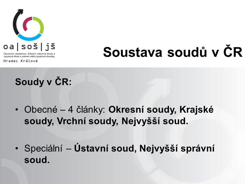 Soustava soudů v ČR Soudy v ČR: Obecné – 4 články: Okresní soudy, Krajské soudy, Vrchní soudy, Nejvyšší soud.