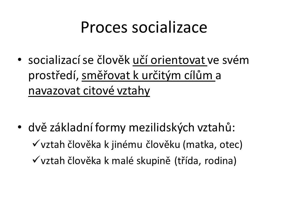 Proces socializace socializací se člověk učí orientovat ve svém prostředí, směřovat k určitým cílům a navazovat citové vztahy dvě základní formy mezil