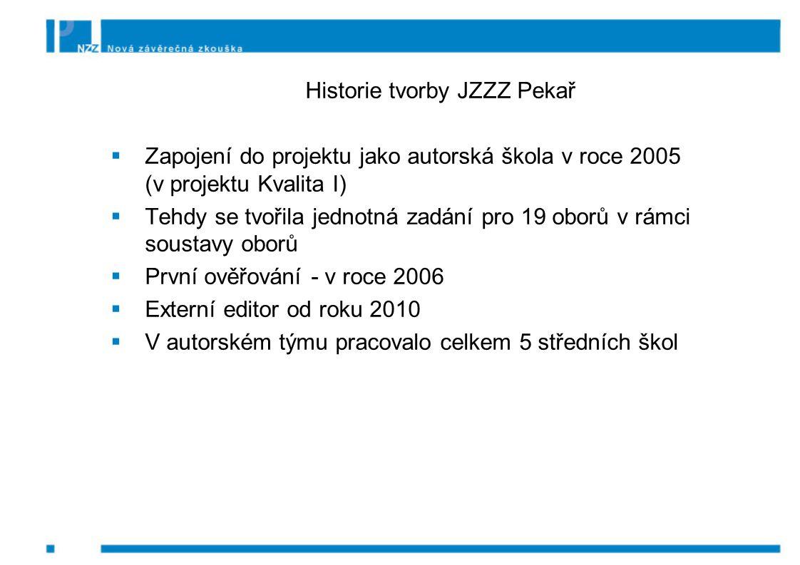 Historie tvorby JZZZ Pekař  Zapojení do projektu jako autorská škola v roce 2005 (v projektu Kvalita I)  Tehdy se tvořila jednotná zadání pro 19 oborů v rámci soustavy oborů  První ověřování - v roce 2006  Externí editor od roku 2010  V autorském týmu pracovalo celkem 5 středních škol