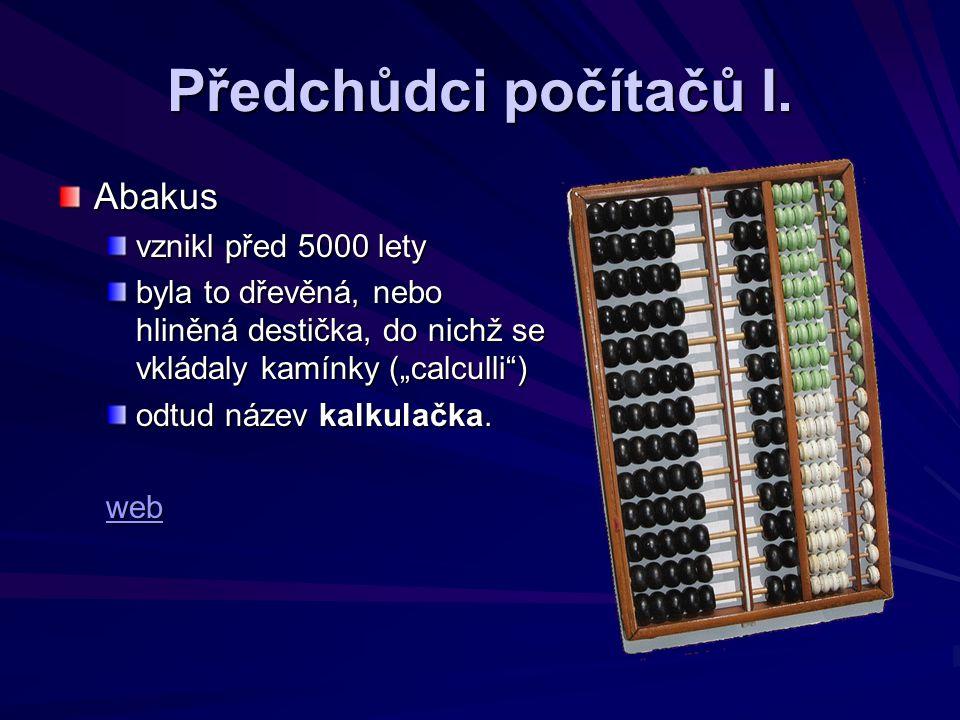 Předchůdci počítačů I.