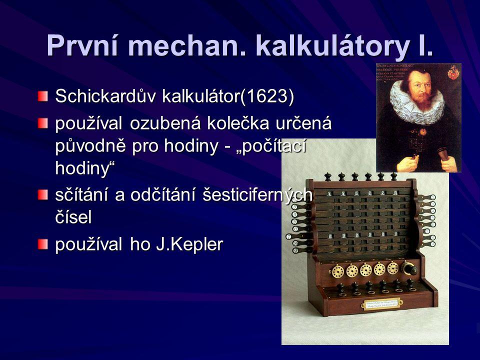 První mechan. kalkulátory I.