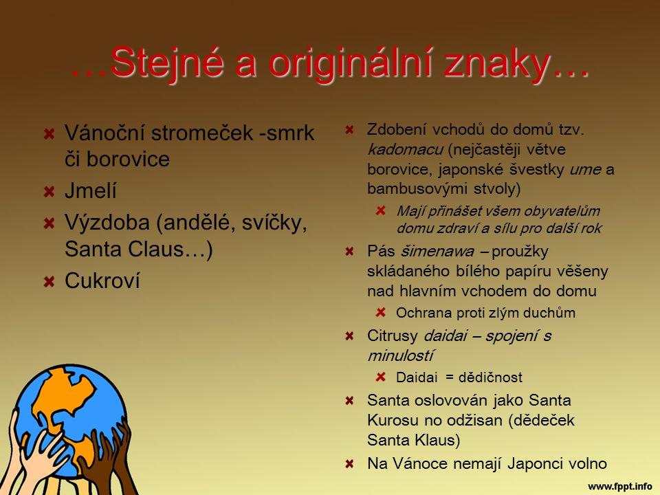 Stejné a originální znaky… …Stejné a originální znaky… Vánoční stromeček -smrk či borovice Jmelí Výzdoba (andělé, svíčky, Santa Claus…) Cukroví Zdoben