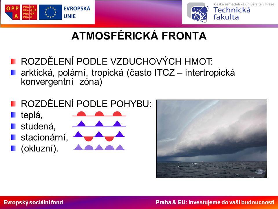 Evropský sociální fond Praha & EU: Investujeme do vaší budoucnosti ATMOSFÉRICKÁ FRONTA ROZDĚLENÍ PODLE VZDUCHOVÝCH HMOT: arktická, polární, tropická (často ITCZ – intertropická konvergentní zóna) ROZDĚLENÍ PODLE POHYBU: teplá, studená, stacionární, (okluzní).