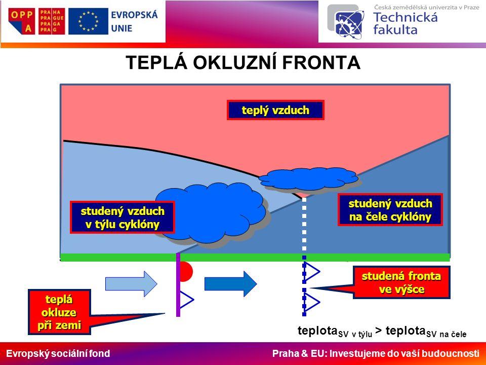 Evropský sociální fond Praha & EU: Investujeme do vaší budoucnosti TEPLÁ OKLUZNÍ FRONTA teplý vzduch studený vzduch na čele cyklóny studený vzduch v t