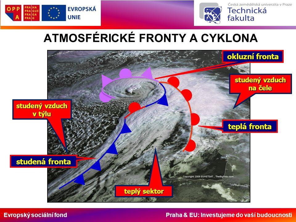 Evropský sociální fond Praha & EU: Investujeme do vaší budoucnosti ATMOSFÉRICKÉ FRONTY A CYKLONA studená fronta teplá fronta okluzní fronta teplý sektor studený vzduch v týlu studený vzduch na čele