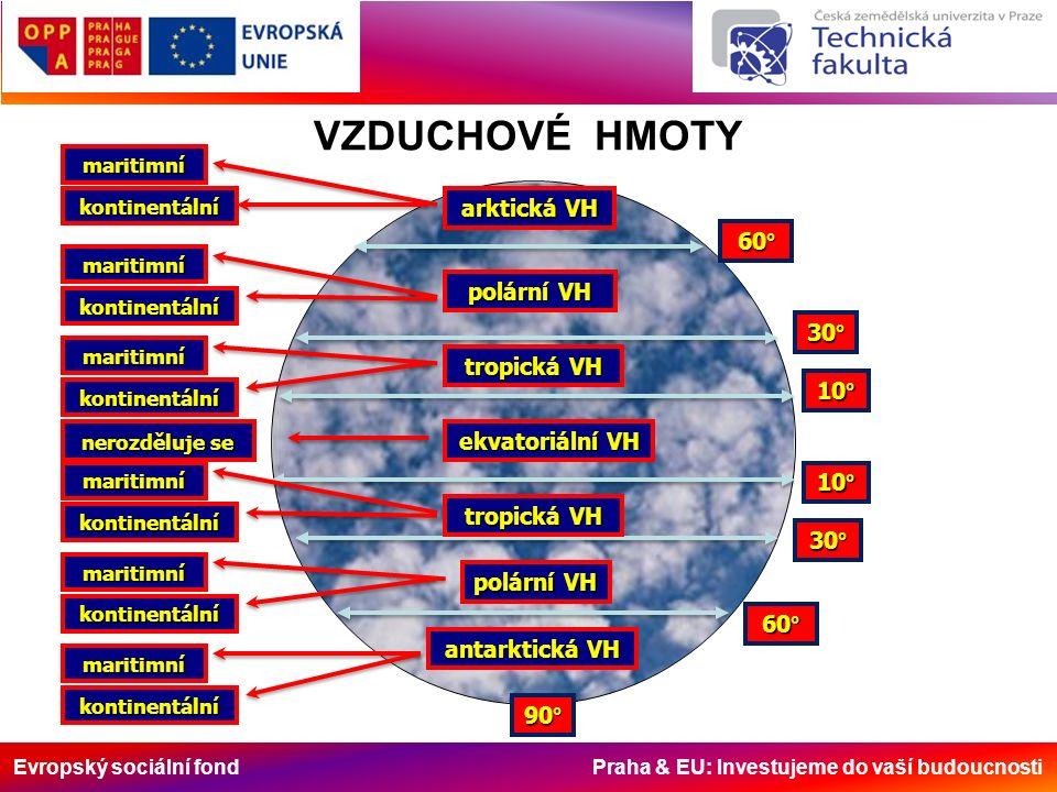 Evropský sociální fond Praha & EU: Investujeme do vaší budoucnosti VZDUCHOVÉ HMOTY 60° 30° 10° 90° 30° 60° ekvatoriální VH tropická VH polární VH arkt